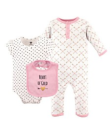 Hudson Baby Union Suit/Coverall, Bodysuits and Bibs, 3-Piece Set, 0-12 Months