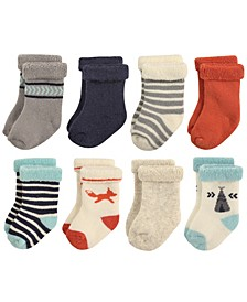 Rolled Cuff Crew Socks, 8-Pack, 0-24 Months
