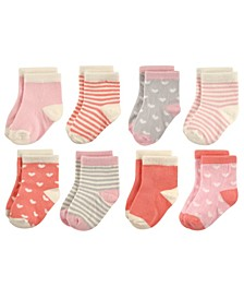 Baby Crew Socks, 8-Pack, Hearts and Stripes, 0-24 Months
