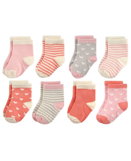Hudson Baby Baby Crew Socks, 8-Pack, Hearts and Stripes, 0-24 Months