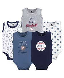 Hudson Baby Sleeveless Bodysuits, 5-Pack, Baseball, 0-24 Months