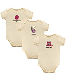 Touched By Nature Organic Cotton Bodysuits, 3-Pack, 0-24 Months