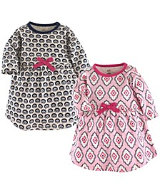 Baby and Toddler Girls Garden Floral Youth Long-Sleeve Dresses, Pack of 2