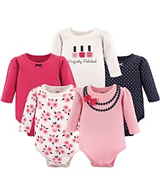 Little Treasure Long-Sleeve Bodysuits, 5-Pack, 0-24 Months