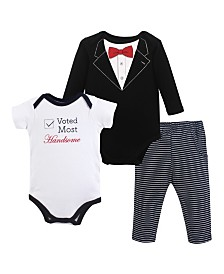 Little Treasure 2 Bodysuits and Pants Set, 0-24 Months