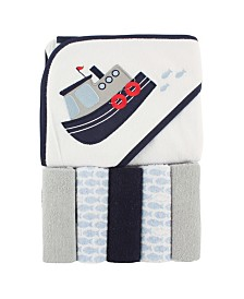 Luvable Friends Hooded Towel with Washcloths, 6-Piece Set, One Size