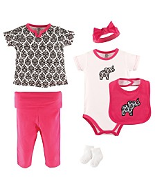 Yoga Sprout Bodysuits, Pants, Socks, Bibs and Headbands, 6-Piece Set, 3-9 Months