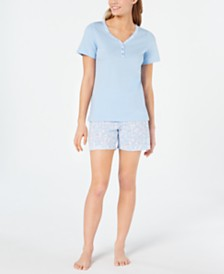 Charter Club Knit Cotton Short-Sleeve Top and Pajama Shorts Set, Created for Macy's
