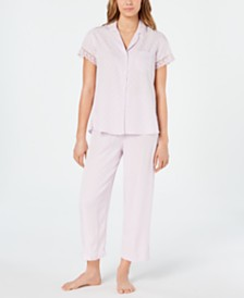 Miss Elaine Lace Trim Short-Sleeve Top and Cropped Pajama Pants Set