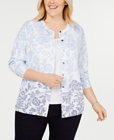 Karen Scott Plus Size Floral Breeze Printed Cardigan, Created for Macy's