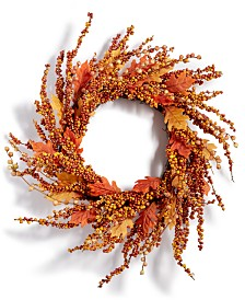 Martha Stewart Collection Harvest Pumpkin Berry Artificial Wreath, Created for Macy's