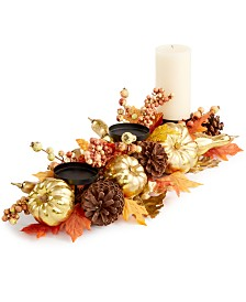 Martha Stewart Collection Harvest Gilded Pumpkin Artificial Centerpiece, Created for Macy's