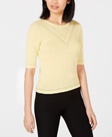 Maison Jules Crewneck Tonal Intarsia Sweater, Created for Macy's