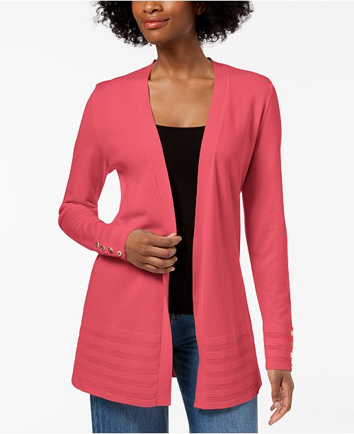 Charter Club Petite Pointelle-Trim Open-Front Cardigan, Created for Macy's