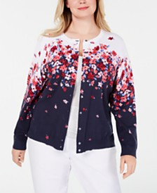Karen Scott Plus Size Chloe Floral-Print Cardigan Sweater, Created for Macy's