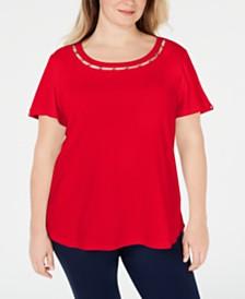 Karen Scott Plus Size Star-Trim Cotton Top, Created for Macy's