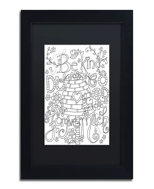 "Trademark Global Jennifer Nilsson Be Kind Coloring Page Matted Framed Art - 16"" x 20"" x 0.5"""