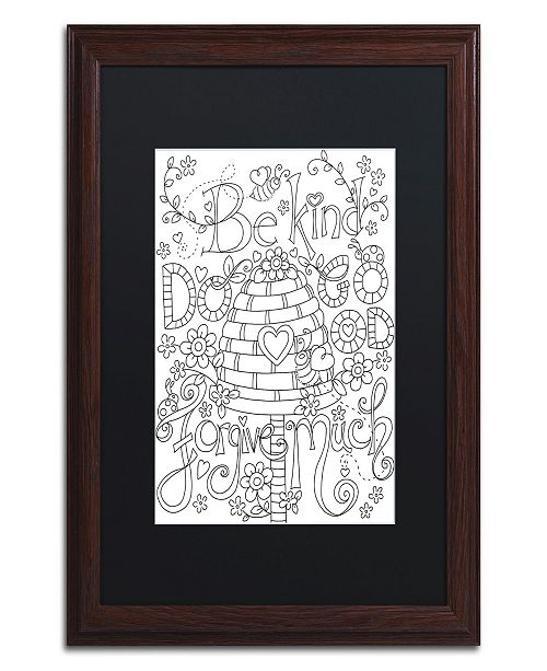 "Trademark Global Jennifer Nilsson Be Kind Coloring Page Matted Framed Art - 11"" x 11"" x 0.5"""