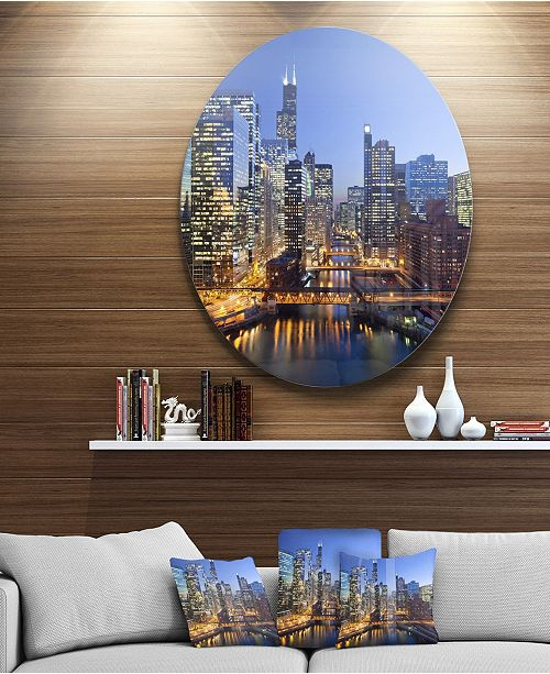 "Design Art Designart 'Chicago River With Bridges At Sunset' Ultra Glossy Cityscape Circle Wall Art - 38"" x 38"""