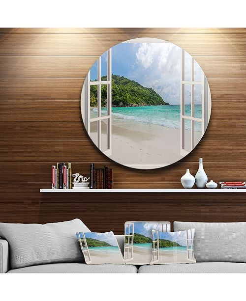 "Design Art Designart 'Open Window To Calm Seashore' Extra Large Seashore Metal Circle Wall Art - 23"" x 23"""