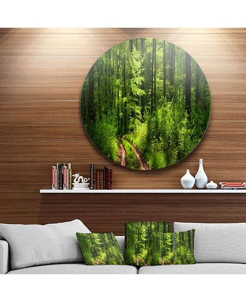 """Design Art Designart 'Fascinating Greenery In Wild Forest' Forest Metal Circle Wall Art - 38"""" x 38"""""""
