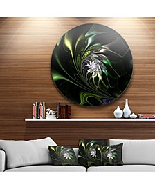 """Designart 'Multi Colored Green Stained Glass' Floral Metal Circle Wall Art - 38"""" x 38"""""""