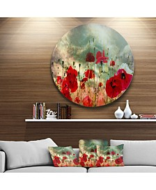 """Designart 'Wild Red Poppy Flowers In Sky'Floral Metal Circle Wall Art - 23"""" x 23"""""""