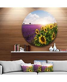 "Designart 'Lavender And Sunflower Fields' Disc Floral Metal Circle Wall Art - 23"" x 23"""