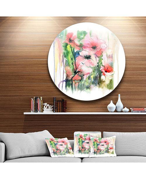 "Design Art Designart 'Pink Floral Watercolor Illustration' Disc Large Animal Metal Circle Wall Art - 38"" x 38"""