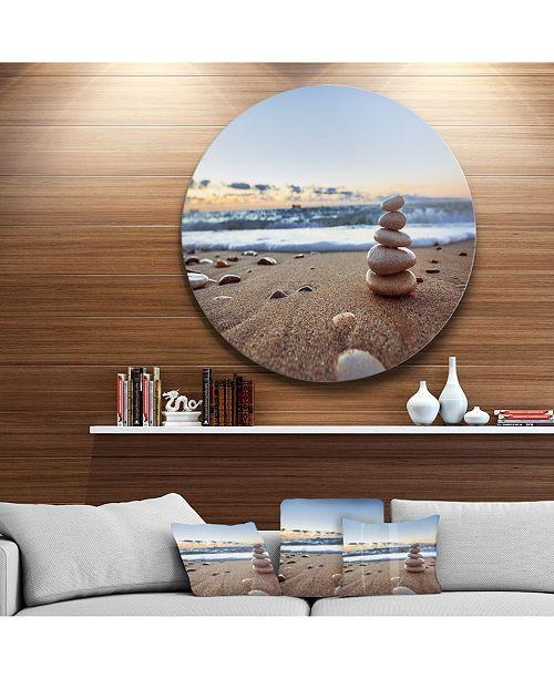 "Design Art Designart 'Stones Balance On Sandy Beach' Seashore Metal Circle Wall Art - 38"" x 38"""