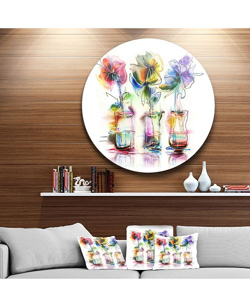 """Design Art Designart 'Abstract Flowers In Glass Vases' Extra Large Floral Wall Art - 23"""" x 23"""""""