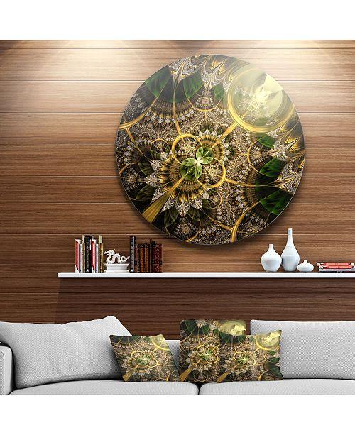 "Design Art Designart 'Dark Green And Gold Fractal Flower' Floral Round Circle Metal Wall Art - 38"" x 38"""