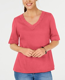 Karen Scott Lace-Trim Cotton Top, Created for Macy's