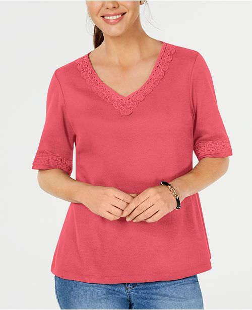 Karen Scott Lace-Trim Cotton Top, Created for Macy's