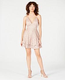 Juniors' Glitter Lace Racerback Dress