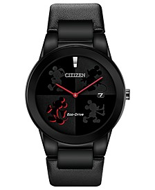 Eco-Drive Men's Mickey Mouse Black Strap Watch 40mm