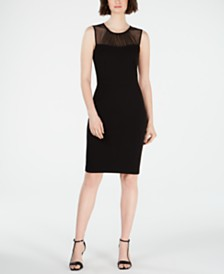 Calvin Klein Petite Illusion-Yoke Sheath Dress