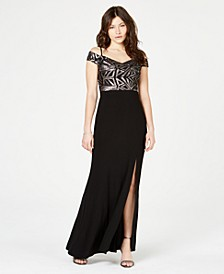 Juniors' Off-The-Shoulder Sequined Slit Gown