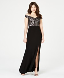 Morgan & Company Juniors' Off-The-Shoulder Sequined Slit Gown