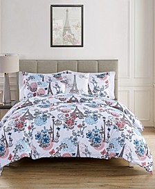 Eiffel Reversible 5 Piece Queen Duvet Set