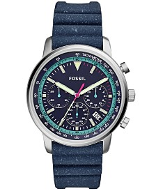 Fossil Men's Chronograph Goodwin Blue Silicone Strap Watch 44mm