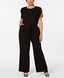 Calvin Klein Plus Size Belted Flutter-Sleeve Jumpsuit