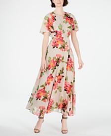 Calvin Klein Floral Printed Capelet Maxi Dress