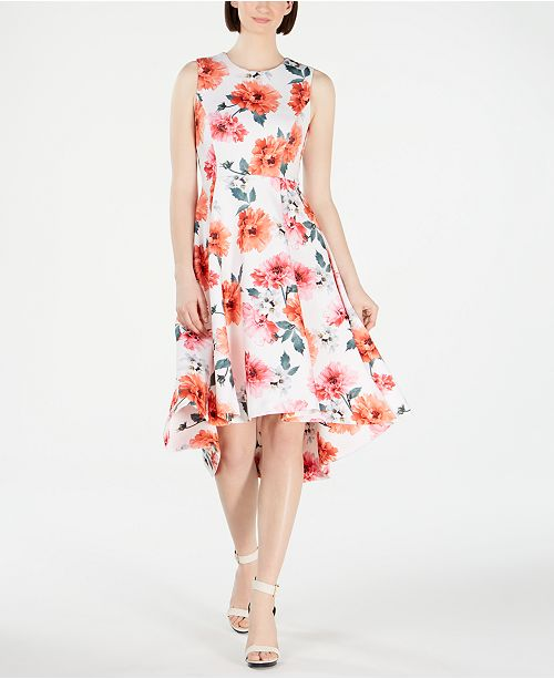 Calvin Klein Floral High-Low Fit & Flare Dress