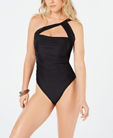 RACHEL Rachel Roy Solid Ruched One-Shoulder One-Piece Swimsuit