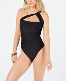 RACHEL Rachel Roy Solid Ruched One-Shoulder One-Piece Swimsuit
