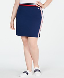 Tommy Hilfiger Sport Plus Size Logo Tape Pencil Skirt
