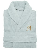 50d8a3b559 Linum Home 100% Turkish Cotton Personalized Unisex Herringbone Bath Robe -  Aqua Blue