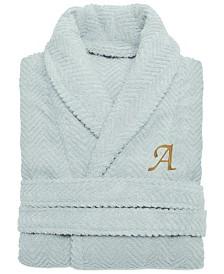 Linum Home 100% Turkish Cotton Personalized Unisex Herringbone Bath Robe - Aqua Blue