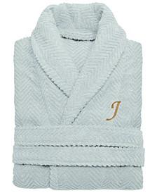 100% Turkish Cotton Personalized Unisex Herringbone Bath Robe - Aqua Blue
